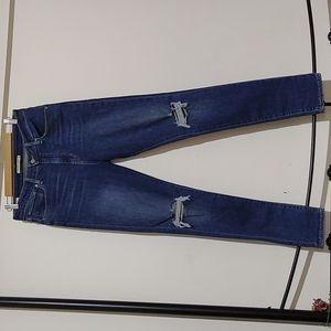 Levi's 721 size 31 skinny leg ripped knee jeans frayed